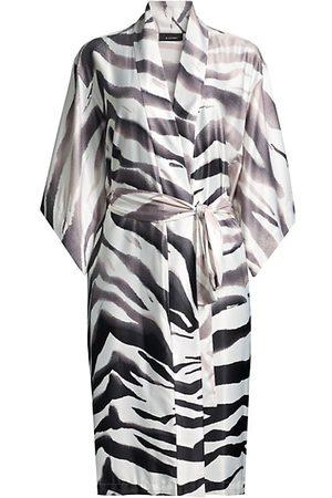 Natori Women Bathrobes - Zebra-Print Satin Robe