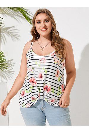 YOINS Plus Size Spaghetti Striped Floral Print Backless Design Twist Cami