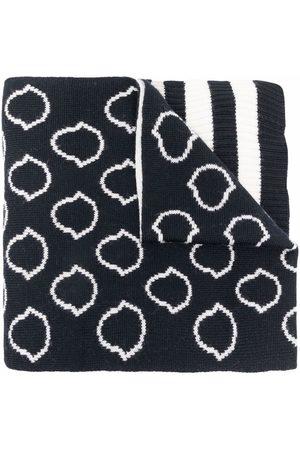 Moncler Girls Scarves - Logo intarsia-knit wool scarf