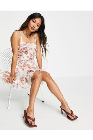 ASOS Women Evening Dresses - Cami mini corset dress with godet detail skirt in floral print-Multi