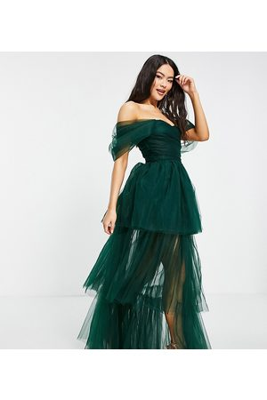 Lace & Beads Women Party Dresses - Exclusive off shoulder tulle maxi dress in emerald