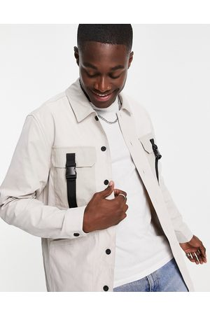Topman Men Casual - Four pocket overshirt in stone with buckle detailing-Neutral