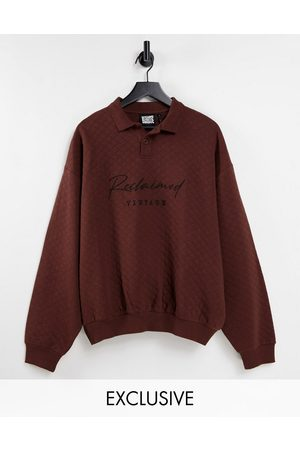 Reclaimed Inspired unisex oversized v neck sweatshirt with contrast embroidery in quilting