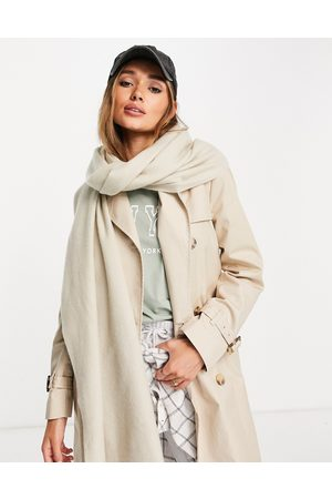 ASOS Recycled blend scarf with raw edge in light camel-Neutral
