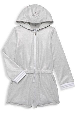Mia Girls Bodysuits - Girl's Metallic Embellished Hooded Romper
