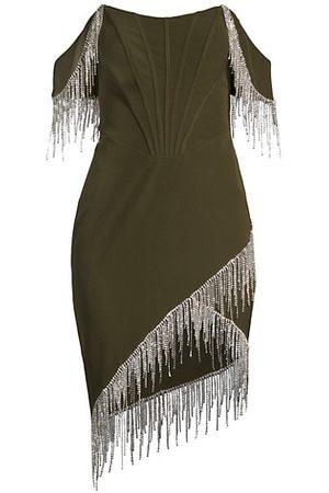 Lavish Alice Beaded Fringe Bardot Corset Dress