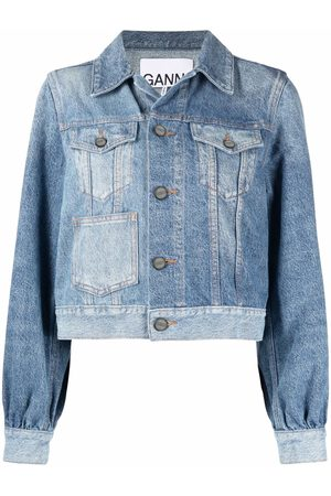 Ganni Women Denim Jackets - Two-tone denim jacket