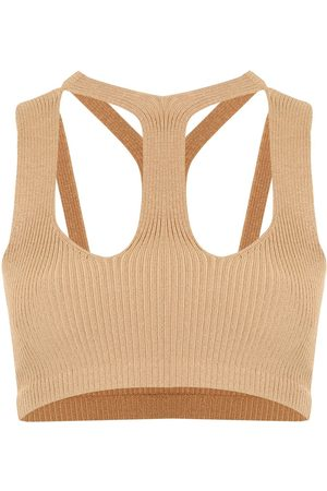 DION LEE Women Tank Tops - Ribbed cut-out cropped top