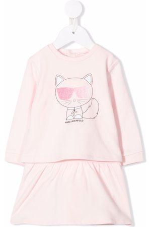 Karl Lagerfeld Baby Casual Dresses - Choupette-print long-sleeved dress