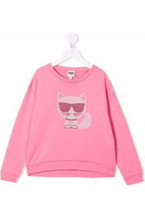 Karl Lagerfeld Girls Sweatshirts - Choupette-print crew neck sweatshirt