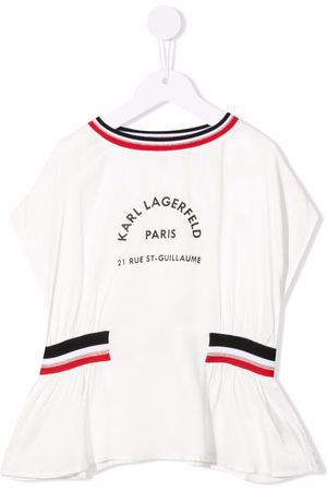 Karl Lagerfeld Girls Blouses - Tri-colour trim logo-print blouse
