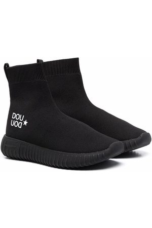 DOUUOD KIDS Girls Ankle Boots - Logo-print sock boots