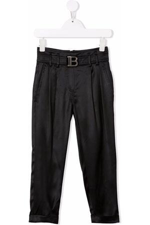 Balmain Girls Pants - High-waisted logo buckle trousers