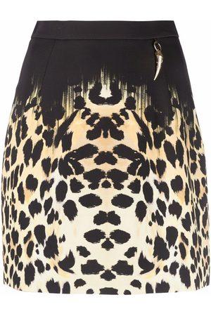 Roberto Cavalli Women Printed Skirts - Leopard print-hem mini skirt