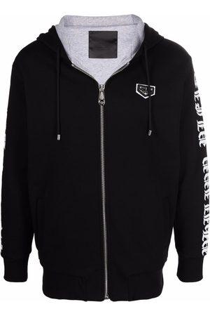 Philipp Plein Men Sweatshirts - Logo-plaque zip-up hoodie