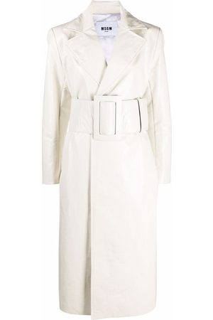 Msgm Women Trench Coats - Crinkled-finish faux-leather trench coat