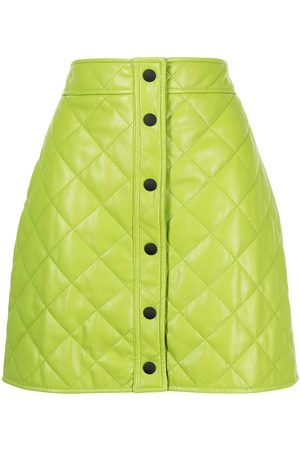 Msgm Women Leather Skirts - Quilted faux-leather skirt
