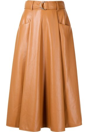 Msgm Women Leather Skirts - Faux-leather midi skirt
