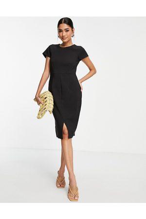 closet london Cap sleeve split pencil dress in