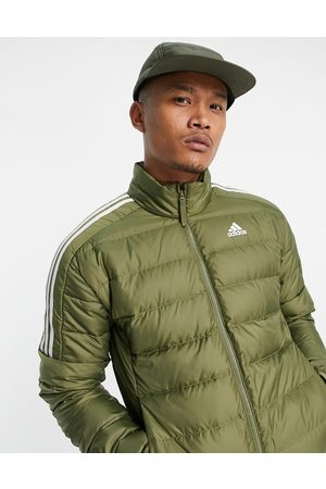 adidas performance Adidas Outdoor down puffer jacket with three stripes in khaki