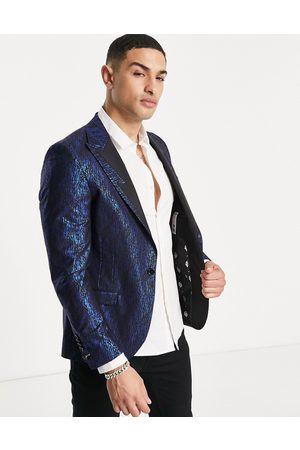 Twisted Tailor Suit jacket in with electric blue dash foil print