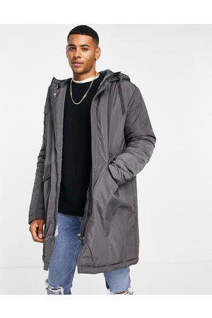 ASOS DESIGN Parka jacket in charcoal
