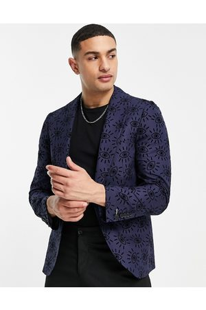 Twisted Tailor Suit jacket in navy with eye print flocking