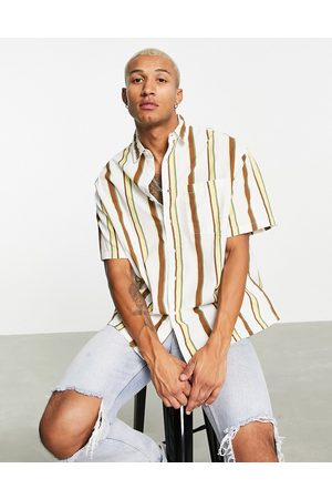 ASOS Boxy oversized shirt in linen look ecru and brown stripe-Neutral