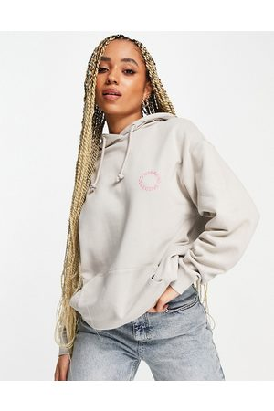 ASOS Oversized hoodie in with pink logo-Neutral