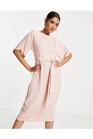Closet Metallic stripe pencil midi dress in stone-Neutral