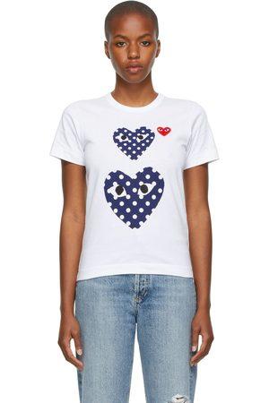 Comme des Garçons Women Short Sleeve - Double Polka Dot Heart Patch T-Shirt