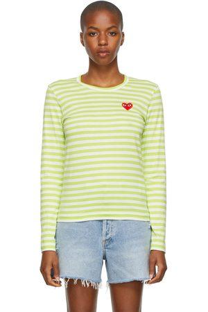 Comme des Garçons Striped Heart Patch Long Sleeve T-Shirt