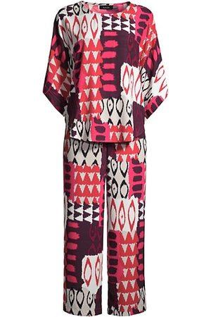 Natori Two-Piece Printed Satin Pajama Set