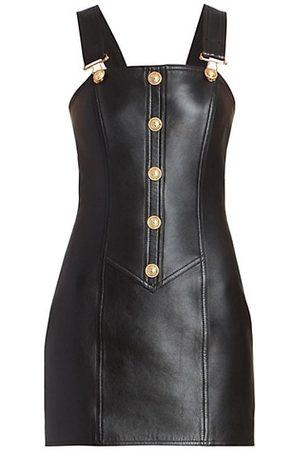Balmain Women Nightdresses & Shirts - Button-Embellished Leather Dress