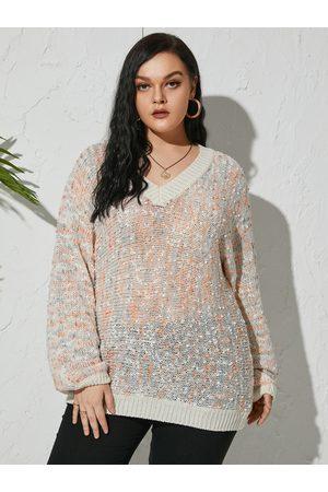 YOINS Plus Size V-neck Semi Sheer Long Sleeves Sweater