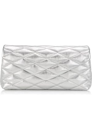 Saint Laurent Large Quilted Metallic Leather Clutch