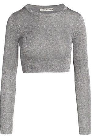 ALICE+OLIVIA Ciara Metallic Cropped Sweater