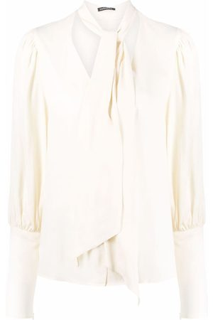 WANDERING Women Blouses - Puff-sleeve pussy-bow blouse