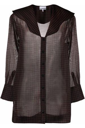 Ganni Scallop-collar semi-sheer blouse