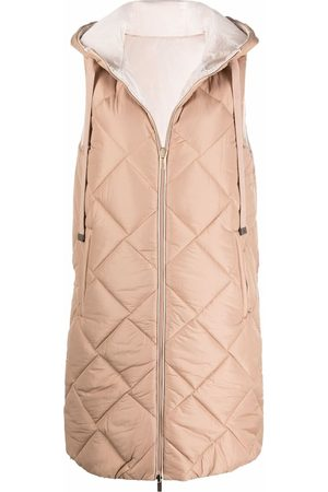 PESERICO SIGN Quilted hooded long waistcoat