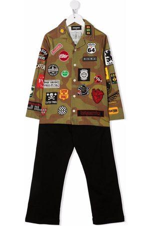 Dsquared2 Patchwork-detail shirt trouser set
