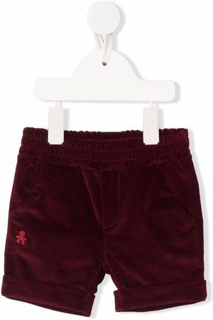 Le Bebé Enfant Embroidered-logo velvet shorts