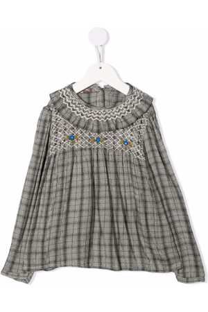 Emile et ida Checked floral-embroidered blouse