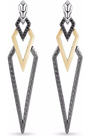 John Hardy 18kt yellow gold, sterling and rhodium Tiga Classic Chain sapphire and spinel drop earrings