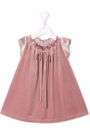 LA STUPENDERIA Girls Casual Dresses - Velvet-effect lace-up dress