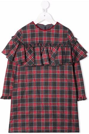 LA STUPENDERIA Tartan-print ruffle-trim dress