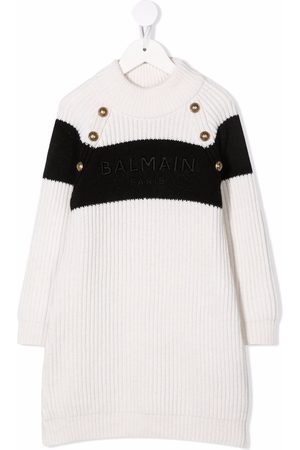 Balmain Logo-embroidered ribbed knitted dress