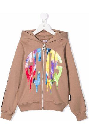 GCDS Logo-print zip-up hoodie