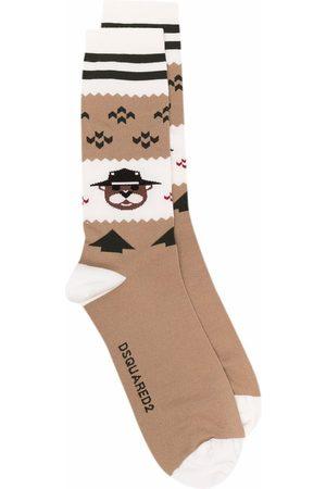 Dsquared2 Bear stripe-trim wool-blend socks