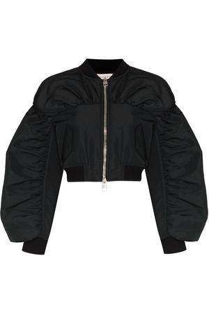 Alexander McQueen Gathered-details cropped bomber jacket